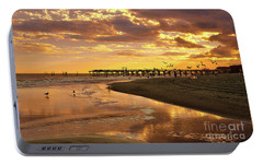 Portable Battery Charger featuring the photograph Sunset And Gulls by Kathy Baccari