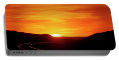 Sunset And Railroad Tracks Portable Battery Charger
