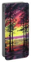 Sunset And Trees Portable Battery Charger