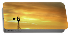 Sunset And Windmill 11 Portable Battery Charger