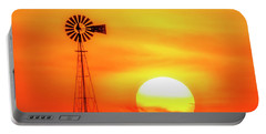 Sunset And Windmill 16 Portable Battery Charger