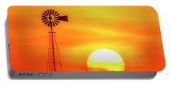 Sunset And Windmill 16 Portable Battery Charger by Rob Graham