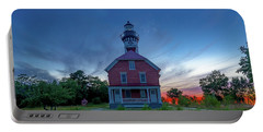Sunset At Au Sable Point Lighthouse Portable Battery Charger