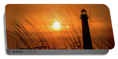 Sunset At Cm Lighthouse Portable Battery Charger