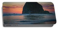 Portable Battery Charger featuring the photograph Sunset At Haystack Rock by Rick Berk