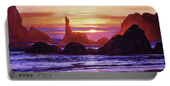 Sunset At Oregon Rocks Portable Battery Charger