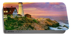 Sunset At Portland Head Portable Battery Charger by Dominic Piperata