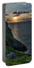 Sunset At Rhossili Bay Portable Battery Charger