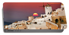 sunset at Santorini Portable Battery Charger