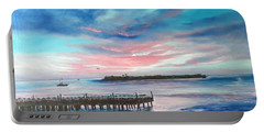 Sunset At Sunset Pier Tiki Bar Key West Portable Battery Charger by Lloyd Dobson