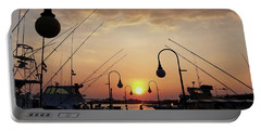 Portable Battery Charger featuring the photograph Sunset At The End Of The Talbot St Pier by Robert Banach