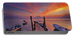 Sunset At The Panajachel Pier On Lake Atitlan, Guatemala Portable Battery Charger