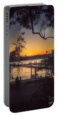 Sunset At The Pier Portable Battery Charger by Miriam Danar