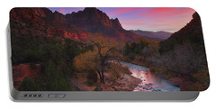 Sunset At The Watchman During Autumn At Zion National Park Portable Battery Charger