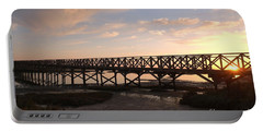 Sunset At The Wooden Bridge Portable Battery Charger