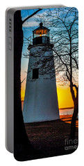 Portable Battery Charger featuring the photograph Sunset At Turkey Point Lighthouse by Nick Zelinsky