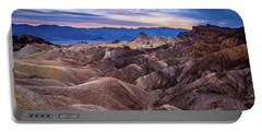 Sunset At Zabriskie Point In Death Valley National Park Portable Battery Charger