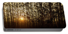 Sunset Behind Row Of Trees In Sihlouette Portable Battery Charger