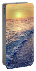 Portable Battery Charger featuring the photograph Sunset Bowman Beach Sanibel Island Florida Vintage by Edward Fielding