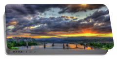 Sunset Bridges Of Chattanooga Walnut Street Market Street Portable Battery Charger