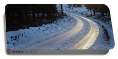 Sunset By An Icy Country Road Portable Battery Charger