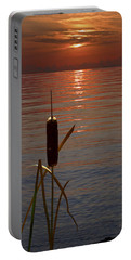 Portable Battery Charger featuring the photograph Sunset Cattail by Judy Johnson