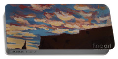 Portable Battery Charger featuring the painting Sunset Clouds Over Santa Fe by Erin Fickert-Rowland