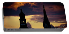 Sunset Cloudscape Old Town Riga Latvia Portable Battery Charger