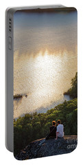 Portable Battery Charger featuring the photograph Sunset Couple, Camden, Maine  -43980 by John Bald