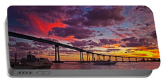 Sunset Crossing At The Coronado Bridge Portable Battery Charger by Sam Antonio Photography