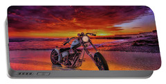 Portable Battery Charger featuring the photograph sunset Custom Chopper by Louis Ferreira