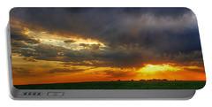 Sunset Fire On A Nebraska Field Portable Battery Charger by Karen McKenzie McAdoo