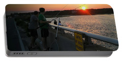 Sunset Fishing Off The Bridge Portable Battery Charger