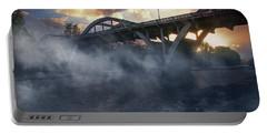 Sunset Fog At Caveman Bridge Portable Battery Charger