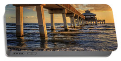 Portable Battery Charger featuring the photograph Sunset Fort Myers Beach Fishing Pier by Edward Fielding