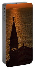 Portable Battery Charger featuring the photograph Sunset From The Walls #2 - Piran Slovenia by Stuart Litoff