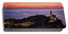 Portable Battery Charger featuring the photograph Sunset From The Walls #3 - Piran Slovenia by Stuart Litoff