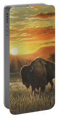 Portable Battery Charger featuring the painting Sunset In Bison Country by Kim Lockman