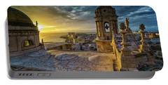 Portable Battery Charger featuring the photograph Sunset In Cadiz Cathedral View From Levante Tower Cadiz Spain by Pablo Avanzini