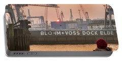 Sunset In Hamburg Port Germany Portable Battery Charger