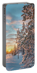Sunset In Lapland Portable Battery Charger by Delphimages Photo Creations
