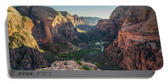 Sunset In Zion National Park Portable Battery Charger by JR Photography