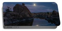 Portable Battery Charger featuring the photograph Sunset Moon Reflection by Gaelyn Olmsted
