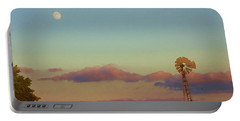 Sunset Moonrise With Windmill  Portable Battery Charger