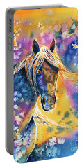 Portable Battery Charger featuring the painting Sunset Mustang by Zaira Dzhaubaeva