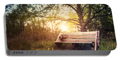 Sunset On A Wooden Bench Portable Battery Charger
