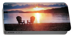 Sunset On Fourth Lake Portable Battery Charger