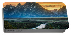 Sunset On Grand Teton And Snake River Portable Battery Charger by Gary Whitton