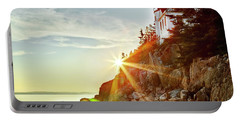 Ocean Sunset On Maine's Bass Harbor Lighthouse Portable Battery Charger