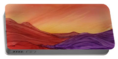 Sunset On Red And Purple Hills Portable Battery Charger